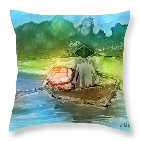 Along The Banks Of Hanoi Throw Pillow by Arline Wagner