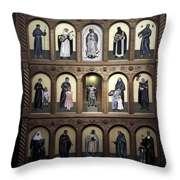 Altar Screen Cathedral Basilica of St Francis of Assisi Santa Fe NM Throw Pillow by Christine Till