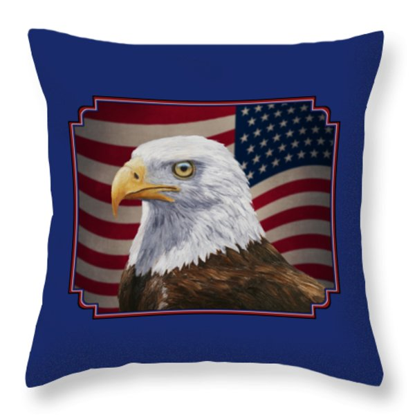 American Eagle Phone Case Throw Pillow by Crista Forest