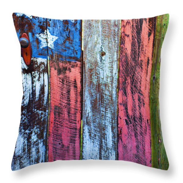 American Flag Gate Throw Pillow by Garry Gay