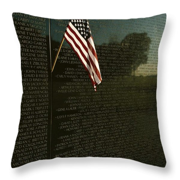 American Flag Left At The Vietnam Throw Pillow by Medford Taylor