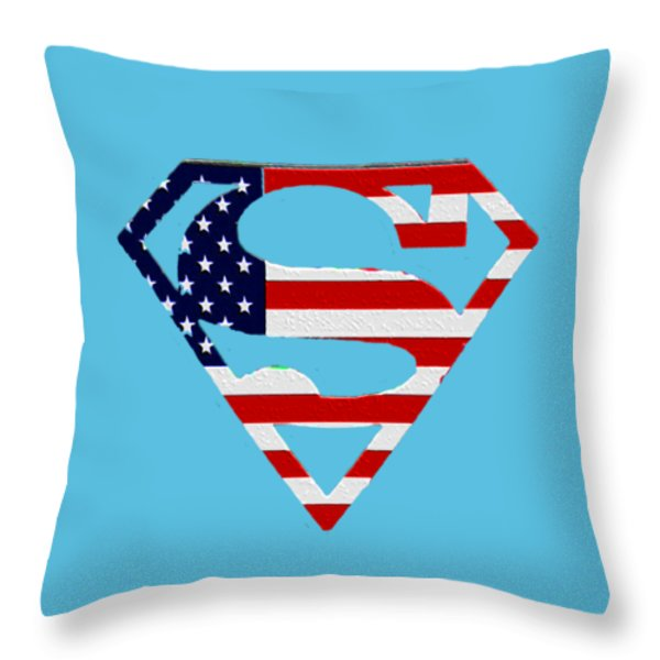 American Flag Superman Shield Throw Pillow by Bill Cannon