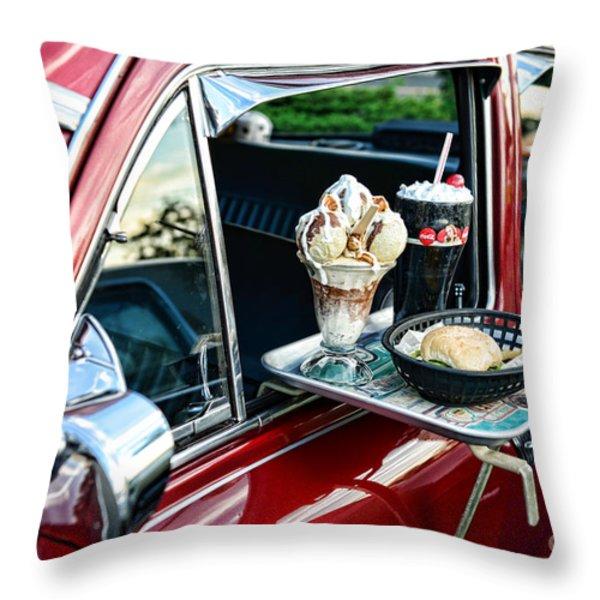 Americana - The Car Hop Throw Pillow by Paul Ward