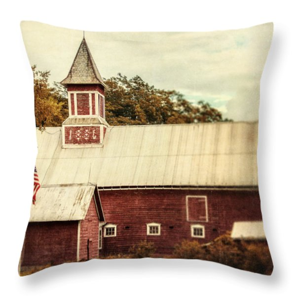 Americana Barn Throw Pillow by Lisa Russo