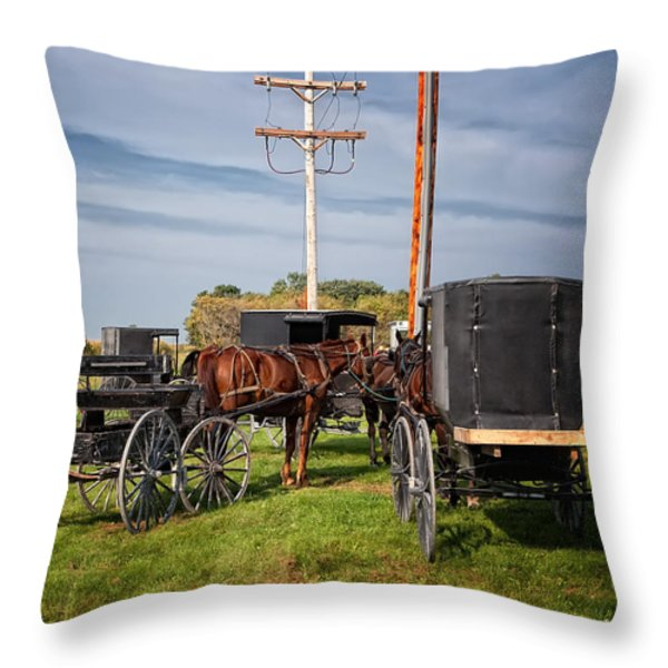 Amish At The Auction Throw Pillow by Al  Mueller