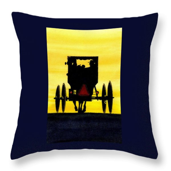 Amish Buggy at Dusk Throw Pillow by Michael Vigliotti