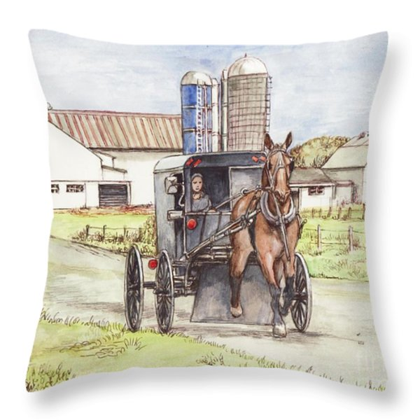 Amish Farm Horse And Buggy Throw Pillow by Morgan Fitzsimons