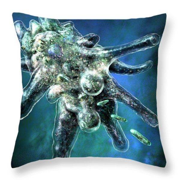 Amoeba Blue Throw Pillow by Russell Kightley