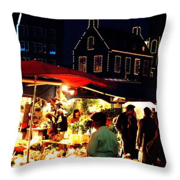 Amsterdam Flower Market Throw Pillow by Nancy Mueller
