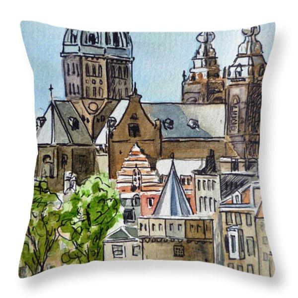 Amsterdam Holland Throw Pillow by Irina Sztukowski