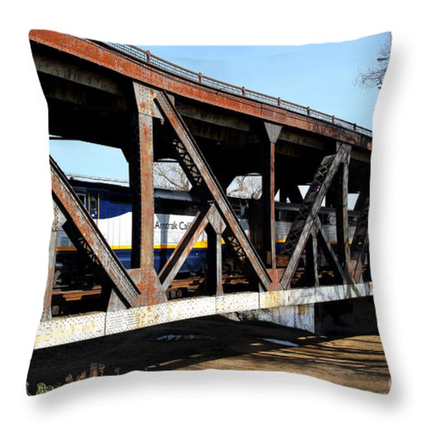 Amtrak California Crossing The Old Sacramento Southern Pacific Train Bridge . 7d11410 Throw Pillow by Wingsdomain Art and Photography