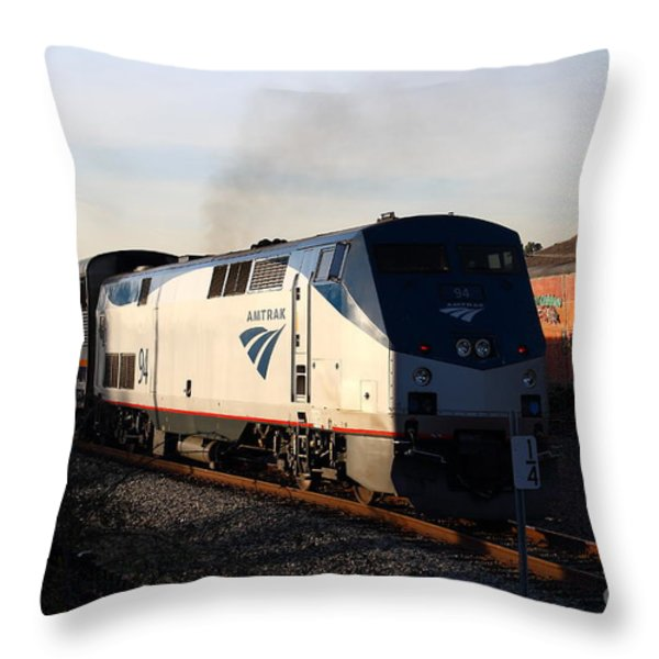 Amtrak Trains At The Niles Canyon Railway In Historic Niles District California . 7d10856 Throw Pillow by Wingsdomain Art and Photography