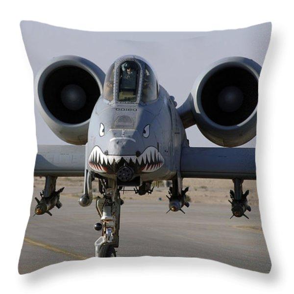 An A-10 Thunderbolt II Throw Pillow by Stocktrek Images