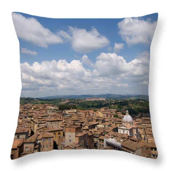 An Aerial Of Sienna, Tuscany Throw Pillow by Joel Sartore