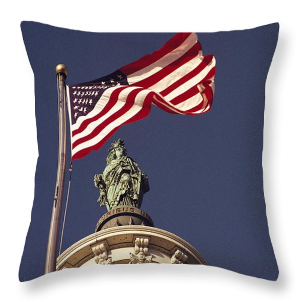 An American Flag And The Statue Throw Pillow by Medford Taylor
