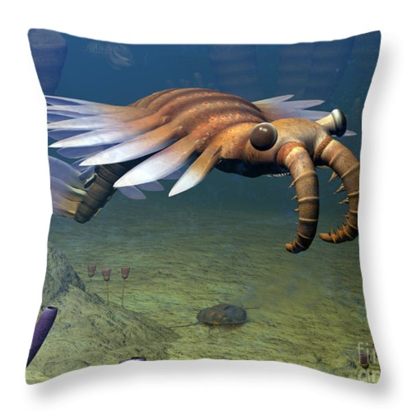 An Anomalocaris Explores A Middle Throw Pillow by Walter Myers
