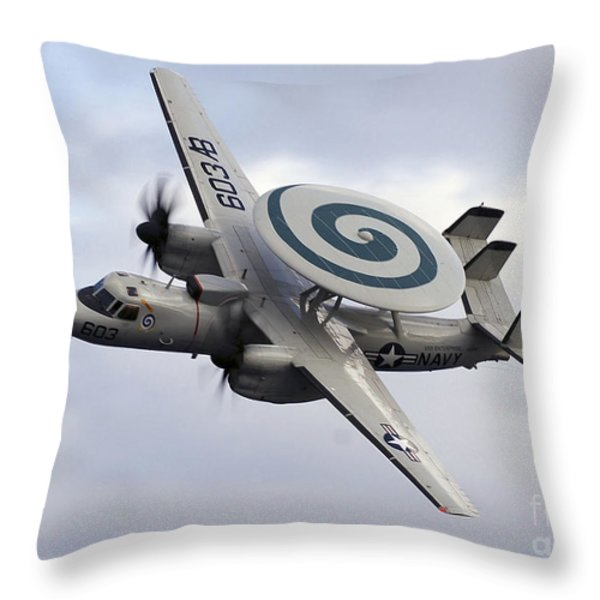 An E-2c Hawkeye Performs A Fly-by Throw Pillow by Stocktrek Images
