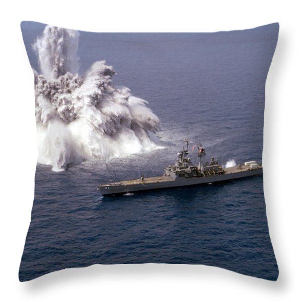 An Explosive Charge Is Detonated Throw Pillow by Stocktrek Images