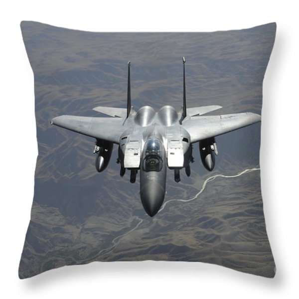 An F-15e Strike Eagle Flies Watch Throw Pillow by Stocktrek Images