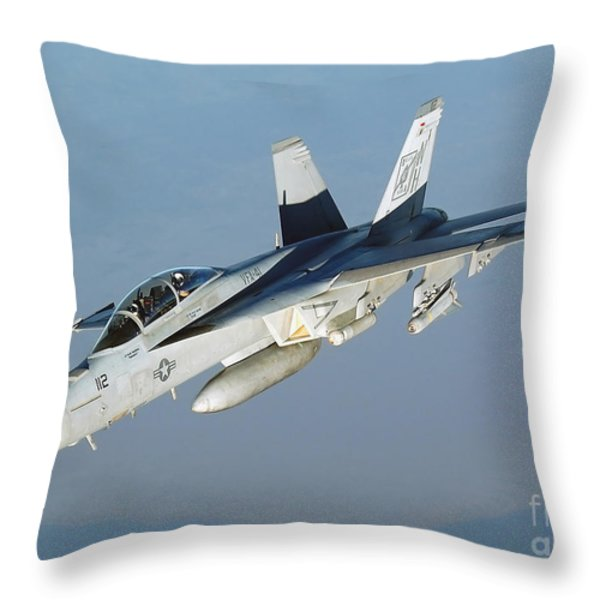 An Fa-18f Super Hornet Conducts Throw Pillow by Stocktrek Images