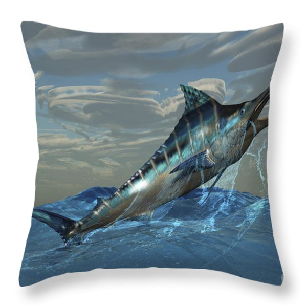 An Iridescent Blue Marlin Bursts Throw Pillow by Corey Ford