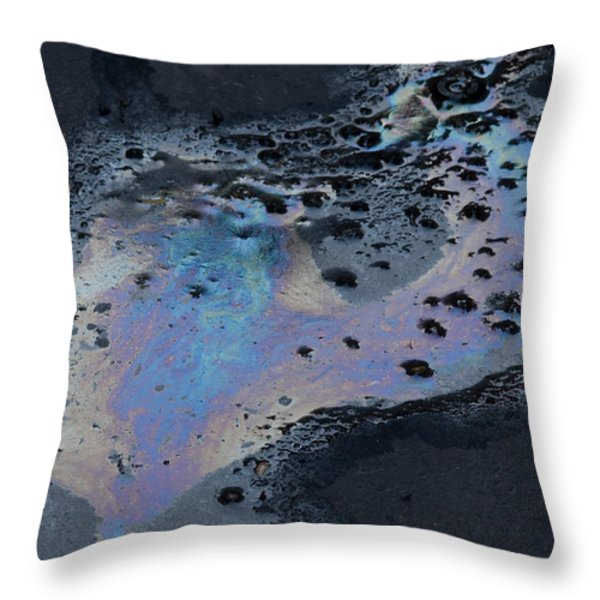 An Oil Slick On A Cobblestone Road Throw Pillow by Joel Sartore
