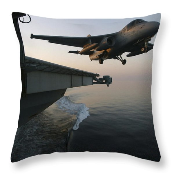 An S-3b Viking Clears The Flight Deck Throw Pillow by Stocktrek Images