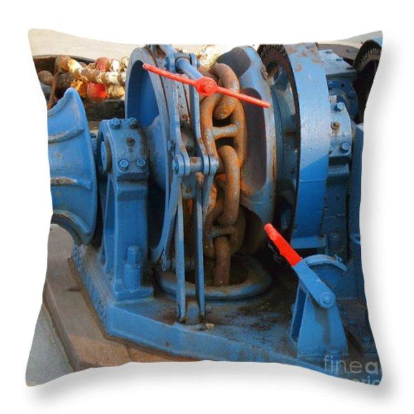 Anchor Winch Throw Pillow by Yali Shi