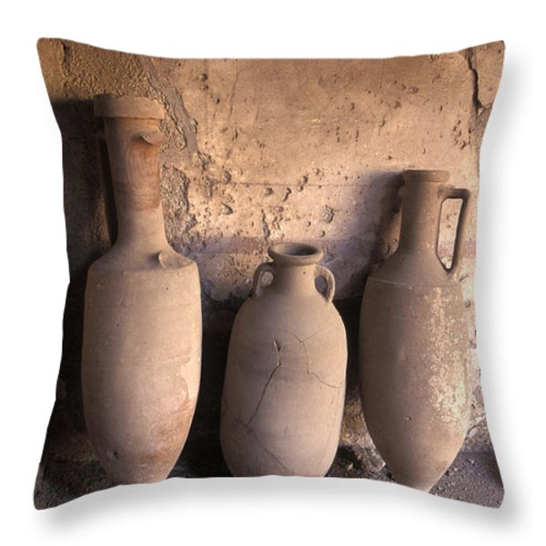 Ancient Wine Clay Vases  In A Wine Throw Pillow by Richard Nowitz