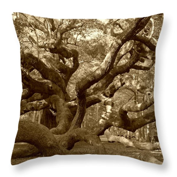 Angel Oak in Sepia Throw Pillow by Suzanne Gaff