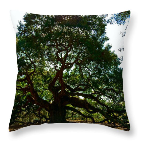 Angel Oak Tree 2004 Throw Pillow by Louis Dallara