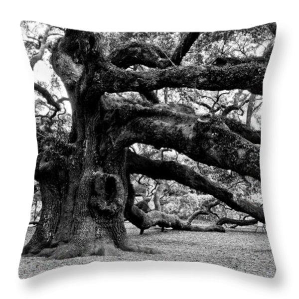 Angel Oak Tree 2009 Black And White Throw Pillow by Louis Dallara