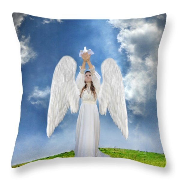 Angel Releasing a Dove Throw Pillow by Jill Battaglia