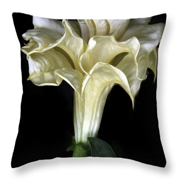 Angel Trumpet Throw Pillow by Jessica Jenney