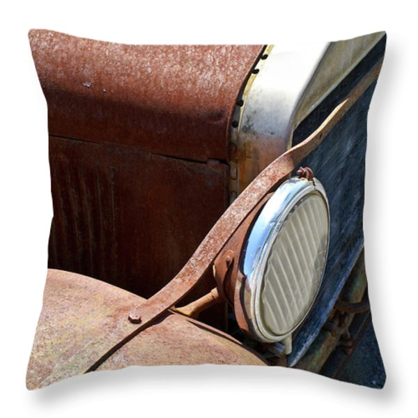 Antique Car Headlamp 2 Throw Pillow by Douglas Barnett