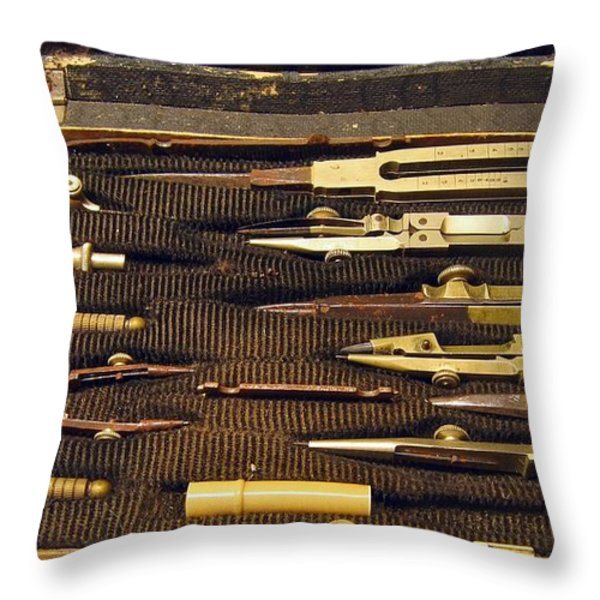 Antique Draftsman Set Throw Pillow by Yali Shi