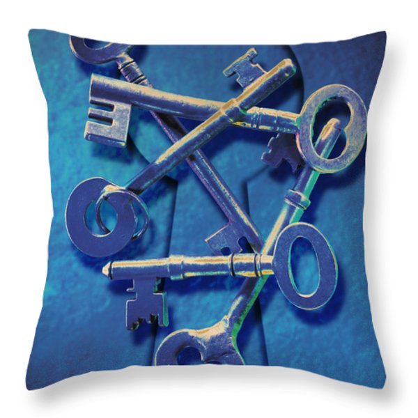Antique Keys Throw Pillow by Kelley King