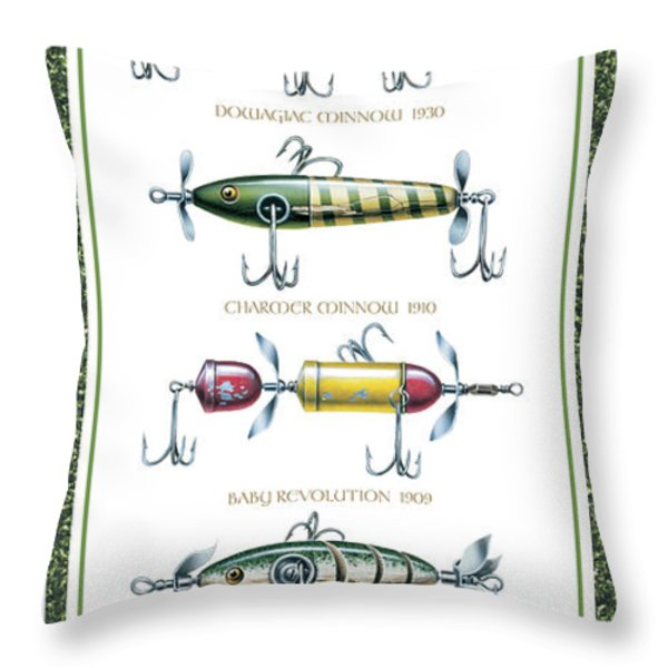 Antique Lure Panel Throw Pillow by JQ Licensing