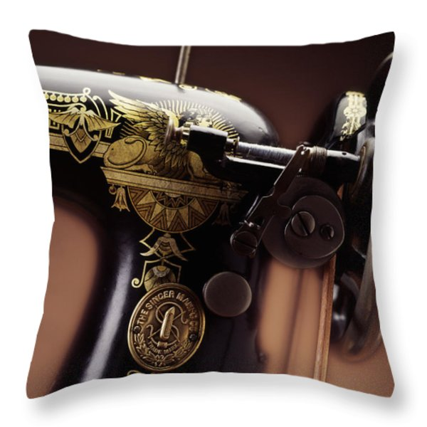 Antique Singer Sewing Machine 4 Throw Pillow by Kelley King
