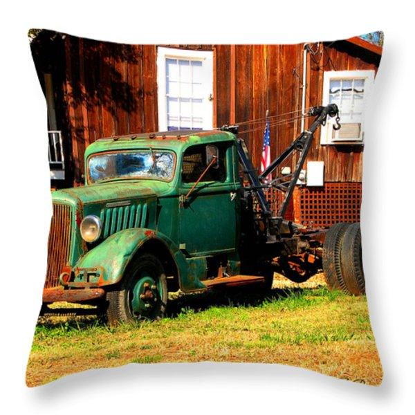 Antique Tow Truck Throw Pillow by Barbara Bowen