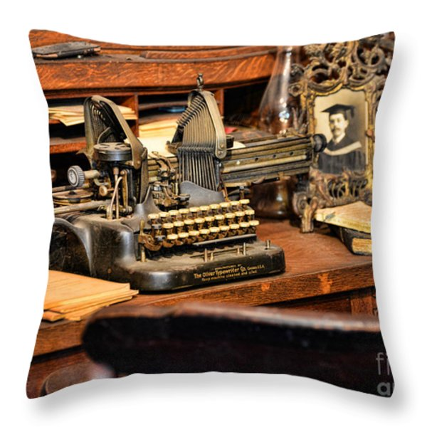 Antique Typewriter Throw Pillow by Paul Ward