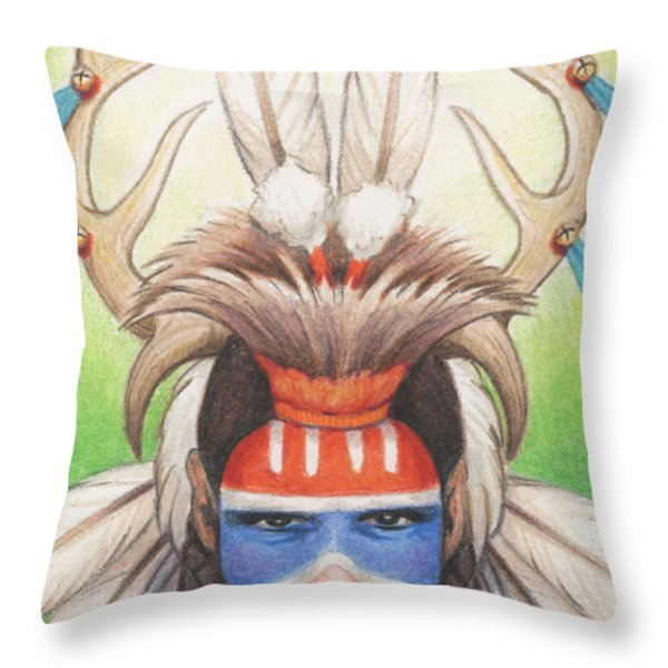 Antlered Warrior Throw Pillow by Amy S Turner