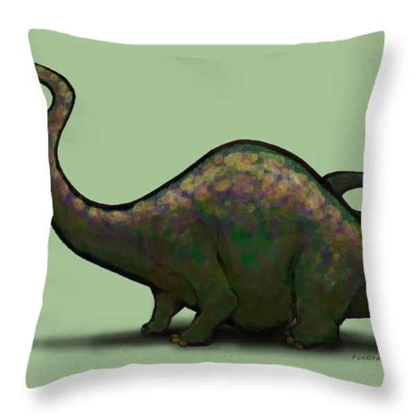 Apatosaurus  Throw Pillow by Kevin Middleton