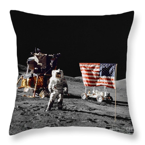 Apollo 17 Astronaut Stands Throw Pillow by Stocktrek Images