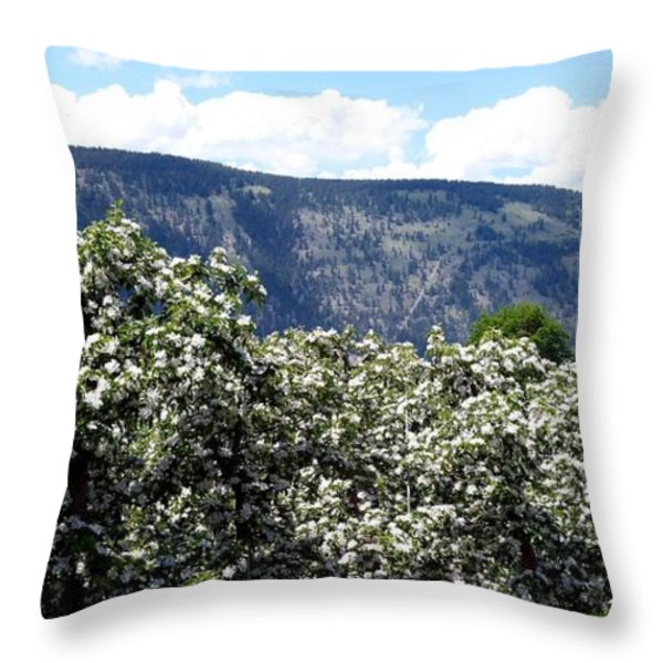 Apple Blossoms Throw Pillow by Will Borden