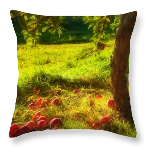 Apple Picking Throw Pillow by Joann Vitali