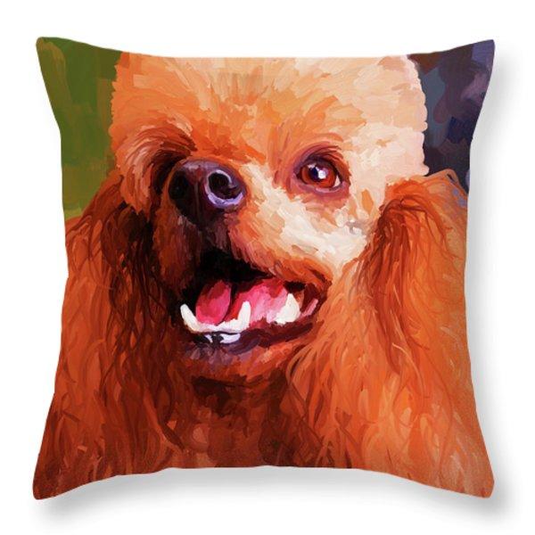 Apricot Poodle Throw Pillow by Jai Johnson