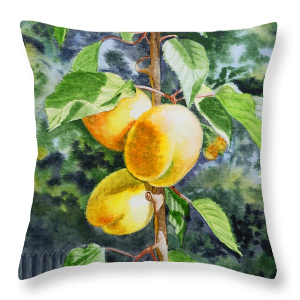 Apricots in the Garden Throw Pillow by Irina Sztukowski