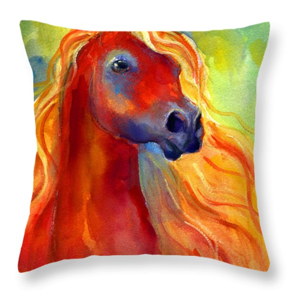 Arabian Horse 5 Painting Throw Pillow by Svetlana Novikova
