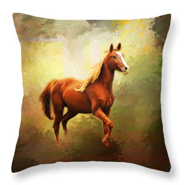 Arabian Horse Throw Pillow by Jai Johnson